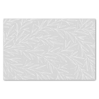 Modern Botanical Leaf Silver Wedding Tissue Paper