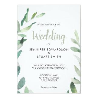 Modern botanical watercolor olive branch Wedding Card