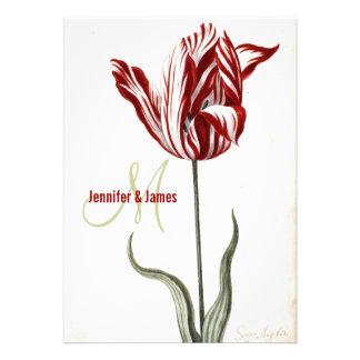 Modern Botanical Wedding Invitation Red Tulip