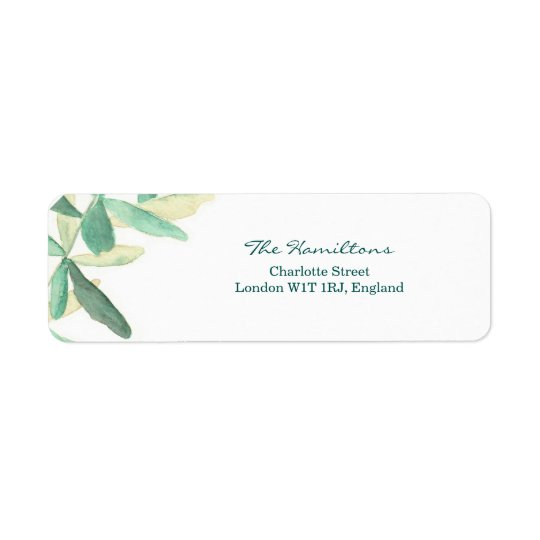 Modern Botanical Wedding Return Address Label