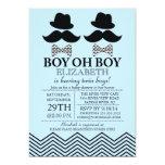 Modern Boy Little Man Moustache TWINS Baby Shower Invite