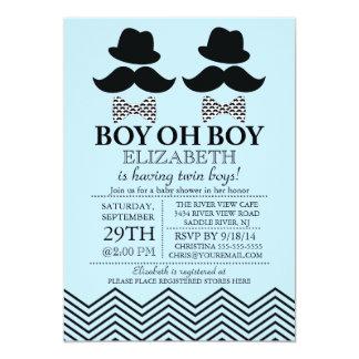 Modern Boy Little Man Mustache TWINS Baby Shower 13 Cm X 18 Cm Invitation Card