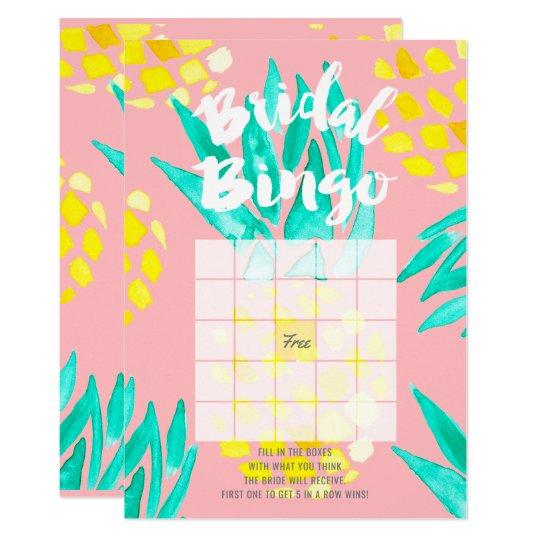 Modern bridal bingo spring watercolor pineapples card