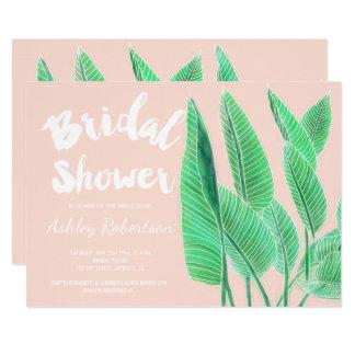 Modern bridal shower watercolor tropical leaf pink card