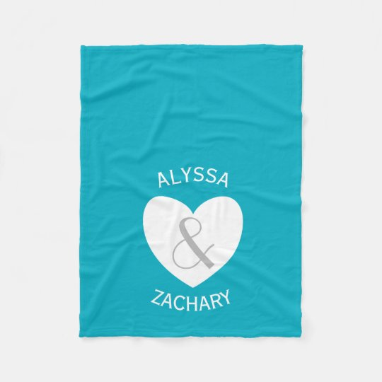 Modern Bride and Groom Heart and Custom Background Fleece Blanket
