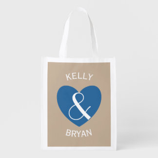 Modern Bride and Groom Navy Blue Heart Z06