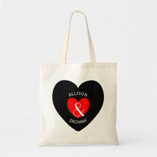 Modern Bride and Groom Red Heart Curved Text A16 Budget Tote Bag