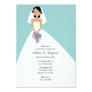 modern bride BRIDAL SHOWER invitation BLUE 4