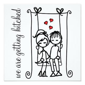 Modern Bride & Groom Doodles Wedding Invitation