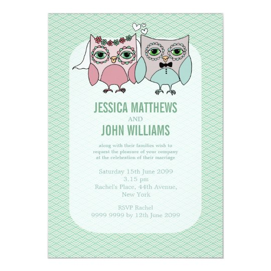 Modern Bride & Groom Owl Couple Wedding Invite