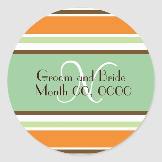 Modern Bride Monogram Wedding Sticker