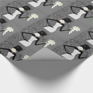 Modern Bride Silhouette in White Wedding Dress Wrapping Paper