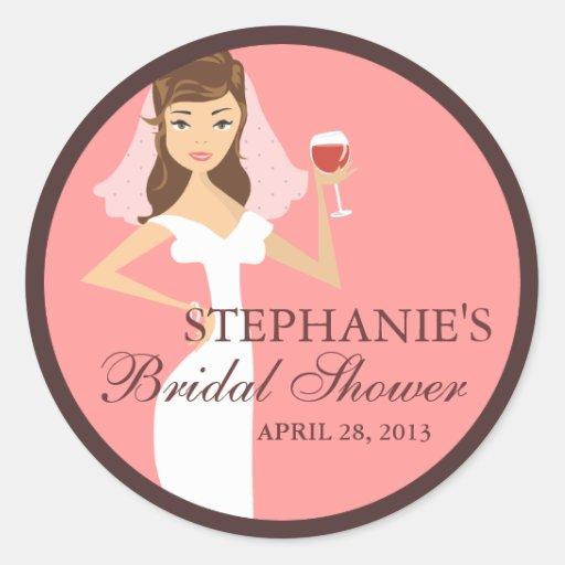 Modern Bride Wine Theme Bridal Shower Favor Round Sticker