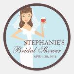 Modern Bride Wine Theme Bridal Shower Favour Round Stickers