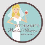 Modern Bride Wine Theme Bridal Shower Favour Stickers