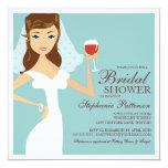 """Modern Bride Wine Theme Bridal Shower Invitation 5.25"""" Square Invitation Card"""