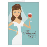 Modern Bride Wine Theme Thank You Card | Teal