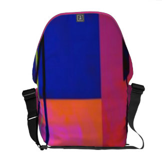 Modern Bright Blue Orange Pink Block Abstract Messenger Bag