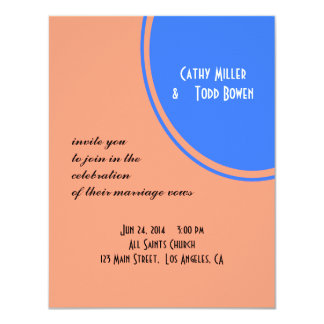 Modern Bright blue pastel orange Circle Wedding 11 Cm X 14 Cm Invitation Card