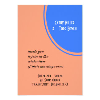 Modern Bright blue pastel orange Circle Wedding Invitation
