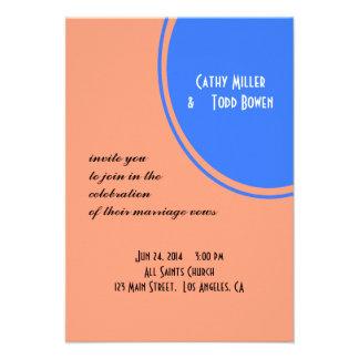 Modern Bright blue pastel orange Circle Wedding Personalized Announcements