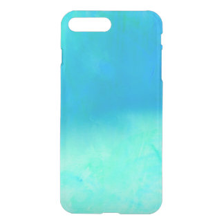 Modern bright blue turquoise ombre watercolor iPhone 8 plus/7 plus case