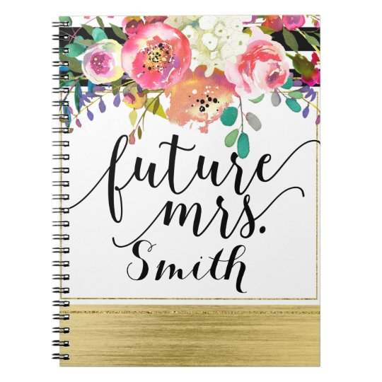 Modern Bright Bold Floral Watercolor Future Mrs. Spiral