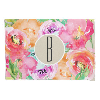 Modern Bright Colorful Floral Watercolor Kraft Pillowcase