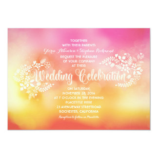 Modern bright colorful floral wedding invitations