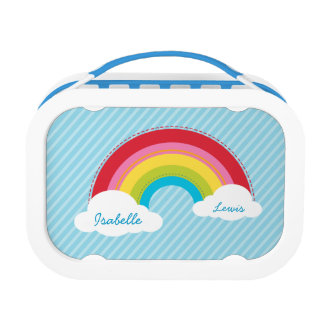 MODERN bright colorful rainbow in the sky Lunch Box