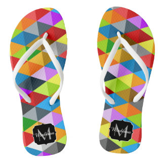 Modern bright colorful triangles pattern Monogram Flip Flops