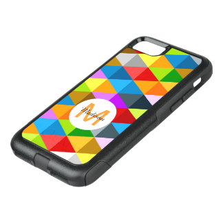 Modern bright colorful triangles pattern Monogram OtterBox Commuter iPhone 7 Case