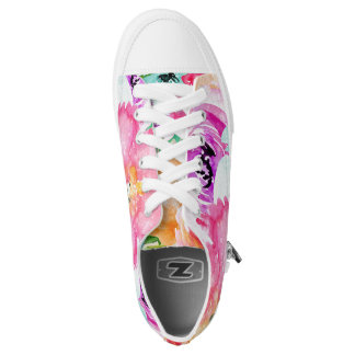 Modern Bright Colourful Spring Floral Watercolor Low Tops