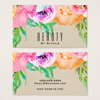 Modern Bright Floral Brown Kraft Glam Country Chic Business Card