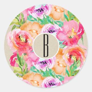 Modern Bright Floral Watercolor Kraft Chic Favor Classic Round Sticker