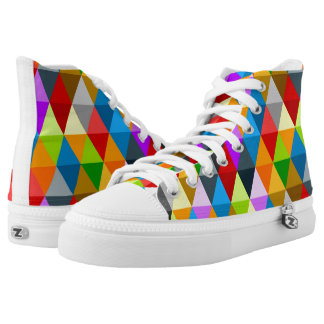 Modern bright funky colorful triangles pattern high tops