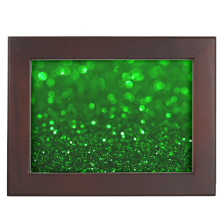 Modern Bright Green Glitter & Sparkles Keepsake Box