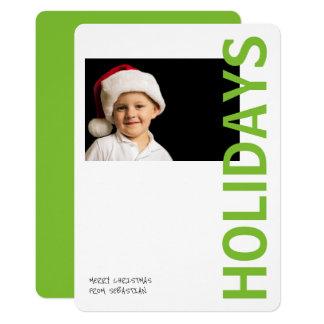 Modern Bright Green Personalized Holidays Photo 13 Cm X 18 Cm Invitation Card