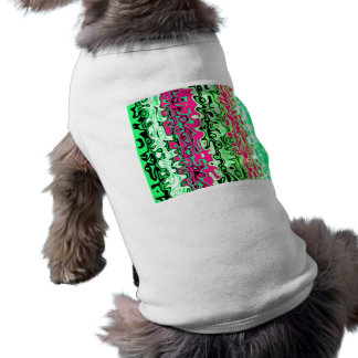 Modern bright green pink and black psychedelic sleeveless dog shirt