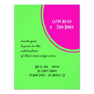 Modern Bright Green Pink Circle Wedding 4.25x5.5 Paper Invitation Card