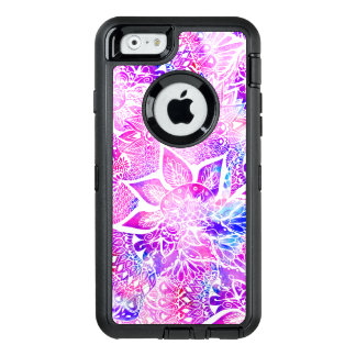 Modern bright henna boho floral mandala pattern OtterBox defender iPhone case