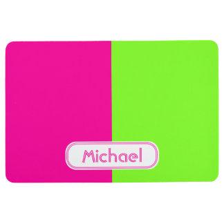 Modern Bright Neon Pink Green Monogram Floor Mat