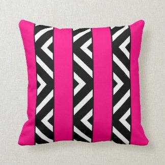 Modern Bright Neon Pink Stripes Monochrome Chevron Cushion