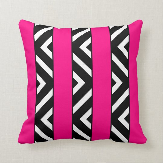 Modern Bright Neon Pink Stripes Monochrome Chevron Throw