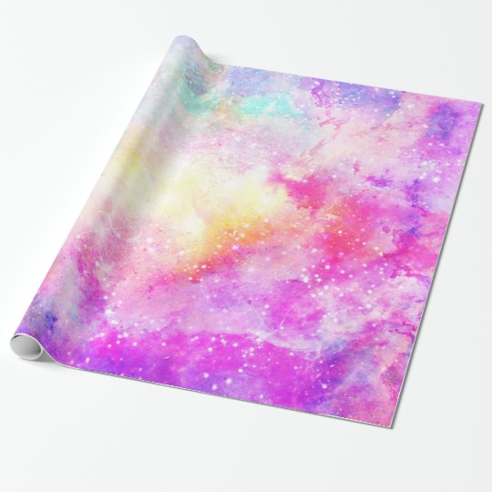 Modern bright pastel nebula watercolor wrapping paper