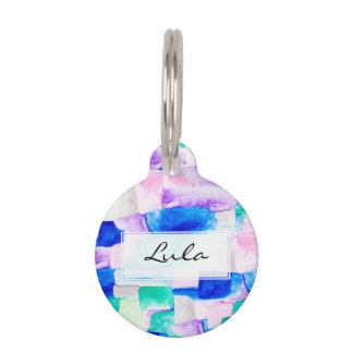 Modern bright pink blue watercolor color block pet ID tag