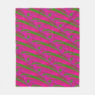 Modern Bright Pink Green Color Swish Fleece Blanket