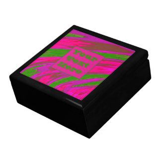 Modern Bright Pink Green Color Swish Large Square Gift Box
