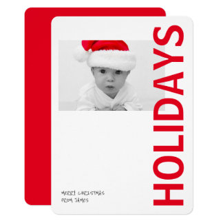 Modern Bright Red Personalized Holidays Photo 13 Cm X 18 Cm Invitation Card