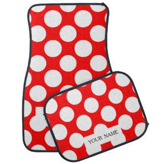 Modern Bright Red White Polka Dots Pattern Car Mat